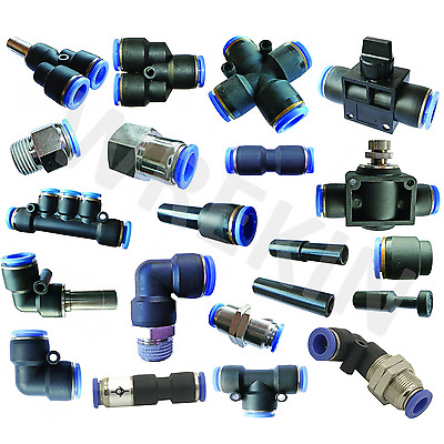 Pneumatic Push Fit Connectors Sizes 4mm 6mm 8mm 10mm 12mm Elbow Straight Cross  • 1£