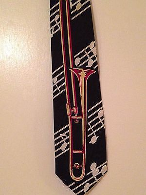 Trombone Tie Brass Instrument Necktie Music Notes Band Geek • 29.99$