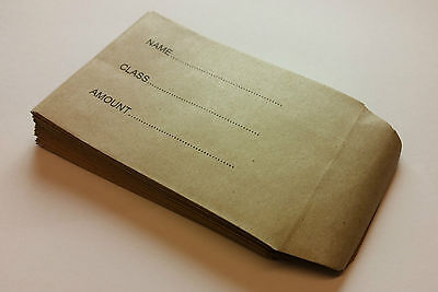 £116.98 • Buy Childrens School Dinner Money/ Trip Envelopes Small Brown Wages Petty Cash Kids