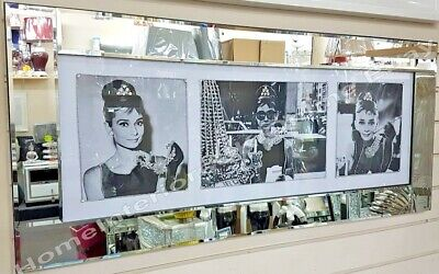 Audrey Hepburn 3 Poses Picture Crystals, Liquid Art & Bevelled Mirror Frame • 189.99£