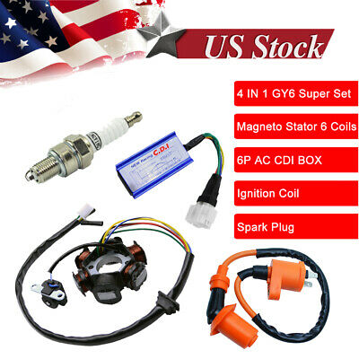 $124.98 • Buy GY6 150 6 Pole Stator Coil CDI Box Ignition Coil 150cc Performance ATV Go Kart