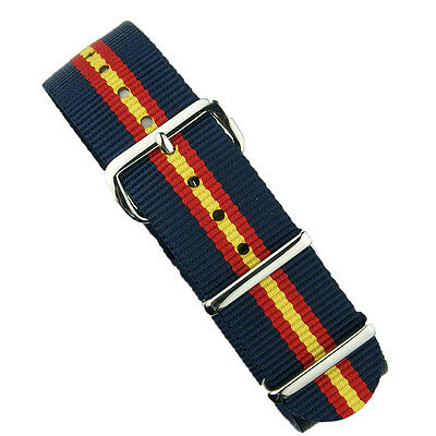 $14.99 • Buy B & R Bands 20mm Navy/Red/Yellow Premium Nylon Military Style Watch Band Strap