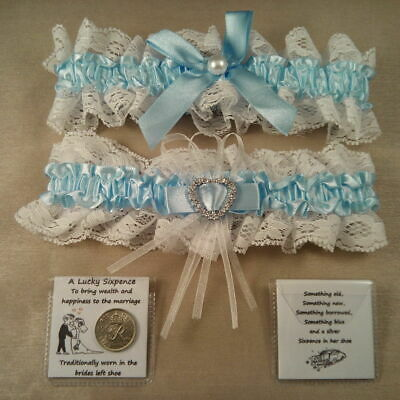 Wedding Garter Plus Lucky Sixpence For Bride's Shoe - Something Blue • 3.99£