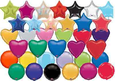 Solid Colour Helium Foil Balloons Heart Round Star Shape Wedding Birthday Party • 1.39£