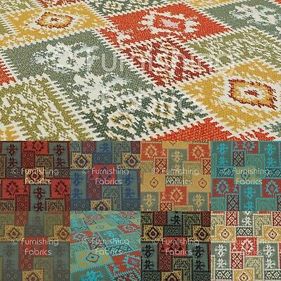 New Tapestry Kilim Patchwork Heavyweight Chenille Multi Colour Upholstery Fabric • 8.99£