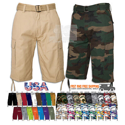 $27.99 • Buy Men Regal Wear Solid Camouflage Belted Cargo Shorts Cotton Twill Size 32 To 44