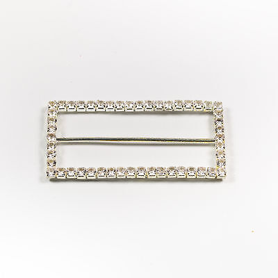 5 × Large Rectangle Crystal Diamante Silder Buckle - 70mm - Ribbons Dress Craft  • 4.50£