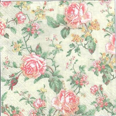 4 Single Paper Decoupage Napkins. Roses,flowers,shabby Chic,green Background-440 • 1.40£