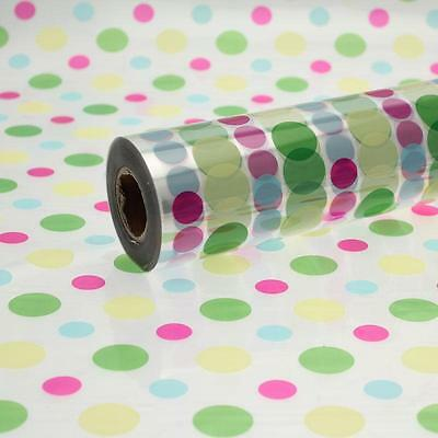 Disco Dot Cellophane Wrap 1m To 100 Meters Length 80cm Wide Florist Quality • 5.99£