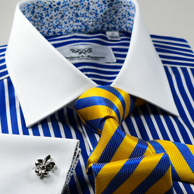 £27.26 • Buy Navy Blue Stripe White French Cuff Dress Shirt With Floral Inner Lining