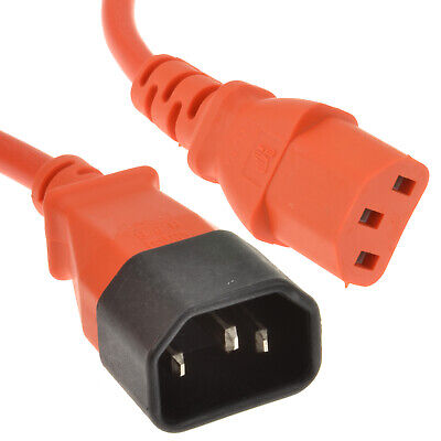 Power C14 To C13 Extension Cable IEC Male To Female  Lead Orange 0.5m • 2.58£