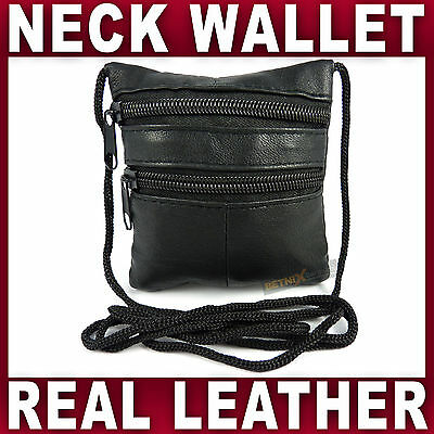 £4.25 • Buy SMALL LEATHER SECURITY NECK POUCH Holder Travel Money Bag Under Clothes Safe NEW