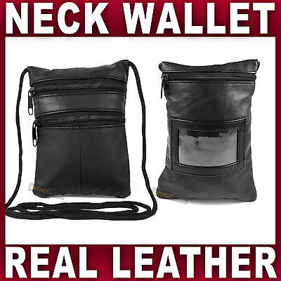 LEATHER SECURITY NECK POUCH Holder Travel Passport Money Bag Under Clothes Safe • 5.95£