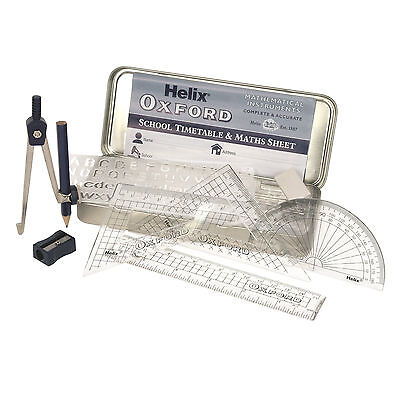 £4.99 • Buy Helix Oxford Maths Set Tin Geometry Ruler Squares Protractor Compass Stencil