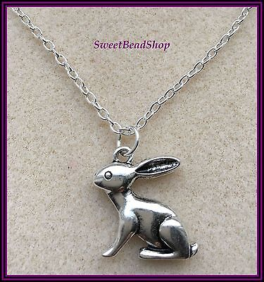 £3.99 • Buy Silver Plated Necklace HARE RABBIT Wildlife Large Pendant Countryside Nature