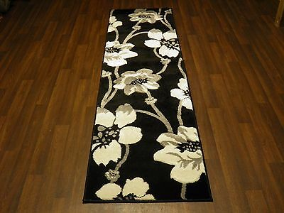 £34.99 • Buy Modern Runner 60x220cm Aprox 8ft Hand Carved Super Quality Poppy Black/Silver
