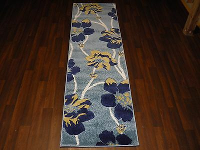 £34.99 • Buy Modern Runners 60x220cm Aprox 8ft Hand Carved Super Quality Poppy Rugs Blue/Teal