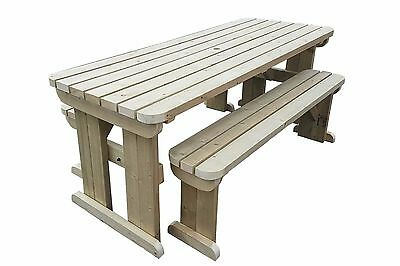 COMPACT Rounded Picnic Table Bench - 4FT To 8FT Hand Made Outdoor Furniture • 242.55£