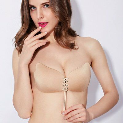 £5.99 • Buy Strapless Invisible Bra Silicone Self Adhesive Stick On Push Up Gel Bra Backless