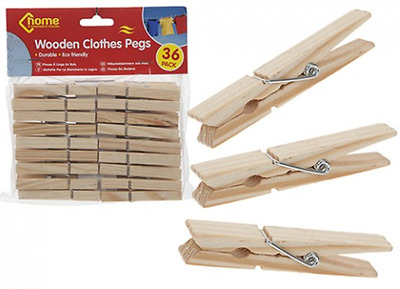 Wooden Clothes Pegs For Washing Line Wood Peg Gardens Airer Dry From 4p Per Peg • 2.95£