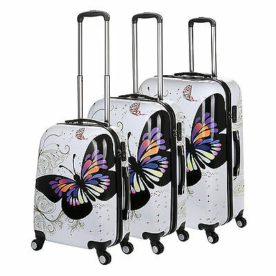 White Butterfly 4 Wheel Hard Shell Suitcase PC Luggage Trolley Case In 3 Sizes • 29.99£