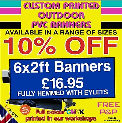 £14.95 • Buy PVC Banners Outdoor Heavy Duty Custom Printed Advertising PVC Banner Sign