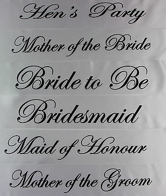 White Luxury Hen Night Do Party Sashes Bride To Be Bridesmaid Mother Of Sash • 0.99£