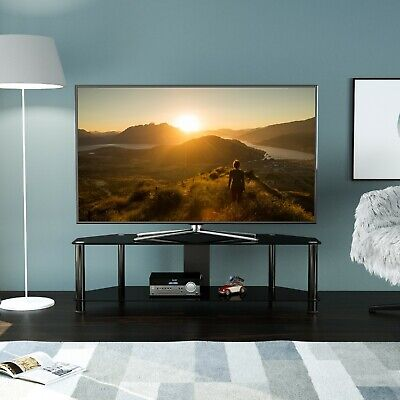 for TVs up to 50 mahara Black Glass TV Stand 100cm