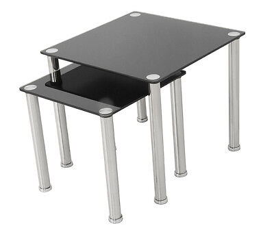 Contemporary Glass & Chrome 2 Nesting Side End Tables Nest Of Tables Gloss Black • 37.99£