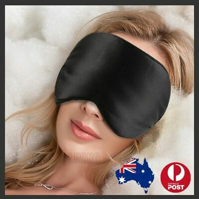 AU8.54 • Buy 100% Pure Silk Sleeping Sleep Eye Mask Blindfold Lights Travel Relax Soft