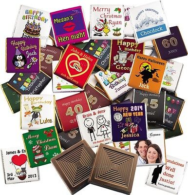 £0.99 • Buy 100 Personalised Belgian Chocolate Favours: Wedding, Birthday Party, Christening