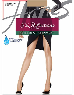 f3f8d5d0c Hanes Silk Reflections Sheerest Support Control Top Sheer Toe Pantyhose  Nylons • 8.49
