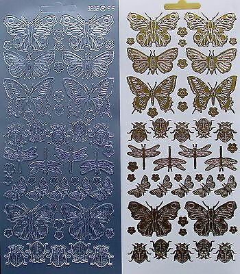 Mixed Insects LADYBIRDS Dragonflies Butterfly PEEL OFF STICKERS Butterflies • 1.10£