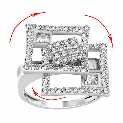 Women Lady 925 Silver Motion Ring Dancing Spinner Spinning Square White Zircon • 34.28£