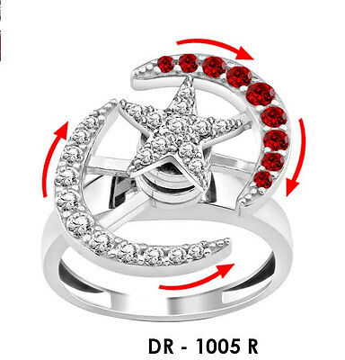 925 Silver Women Lady Motion Ring Dancing Ring Spinner Spinning Moon Star Ruby • 37.85£