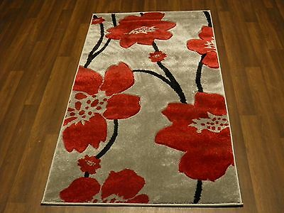 Modern New Rug Approx 5x2ft6 80cmx150cm Woven Thick Best Around Silver/Red Poppy • 32.99£