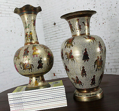 $1500 • Buy ON SALE! Unmatched Pair Etched & Enameled Cast Brass Vases Kashmiri Indo Persian