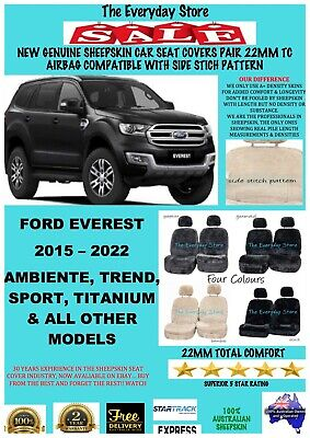 AU199 • Buy Ford Everest 15-21 Genuine Sheepskin Car Seat Covers Pair 22MM Airbag Safe