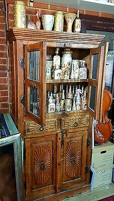 AU861.40 • Buy Shelving Unit Cupboard Antique Shelf Real Wooden Heavy Cabinet Vintage Bottles