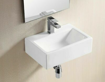 Basin Sink Wall Mounted Hung Countertop White Ceramic Rectangular Single Hole • 30.86£