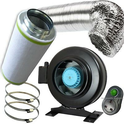 4  PRO Air Odour Control Kit: Vortex Extractor In-Line Fan Carbon Filter Ducting • 108.85£
