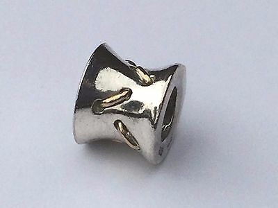 AU39 • Buy Authentic Pandora Two Tone 14ct Gold Lace Stitches Charm - 790327 Retired