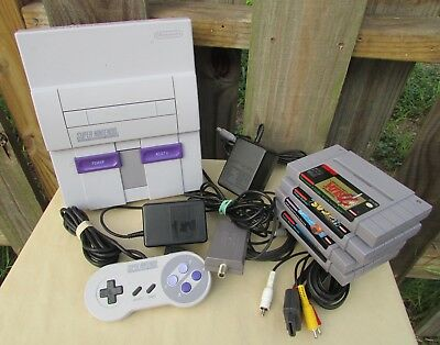$195 • Buy Lot Super Nintendo System,Games Mario, Zelda, Controllers AC Adapters, RF Switch
