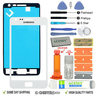 £9.99 • Buy Samsung Galaxy S2 Replacement Screen Front Glass Outer Lens Repair Kit WHITE UK