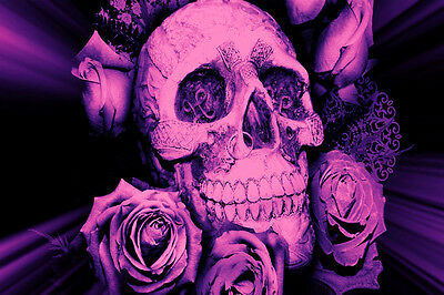 Superb Skull Canvas #74 Gothic Skull Roses Wooden Frame Canvas Art Animation • 29.99£