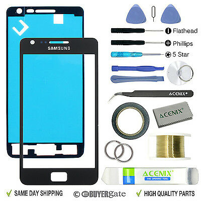 £9.99 • Buy SAMSUNG GALAXY S2 Black Replacement Screen Front Glass Lens Repair Kit+ 2mm Tape