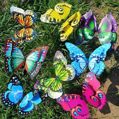 Colorful Fairy Butterfly On Stick Ornament Home Garden Vase Lawn Art Craft Decor • 5.55£