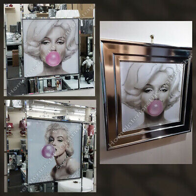 Marilyn Monroe Pink Bubble Gum,crystals,liquid Art &mirror/chrome Frame Pictures • 99.99£