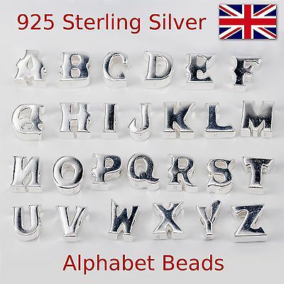 £6.49 • Buy Alphabet Letters 925 Sterling Silver Charm Beads  Initial  Bracelet Bead Charms