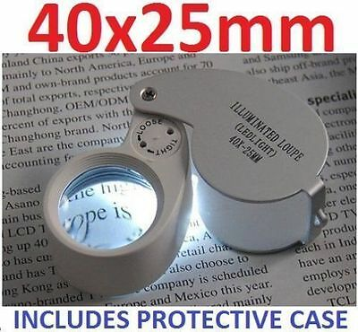 New 40 X 25mm Eye Glass Piece Magnifier Jewellers Loupe Loop CW LED Light UK J1 • 7£